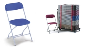 blue folding chairs for events