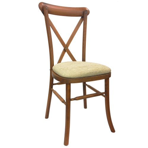 oak crossback chair - ivory seat pads
