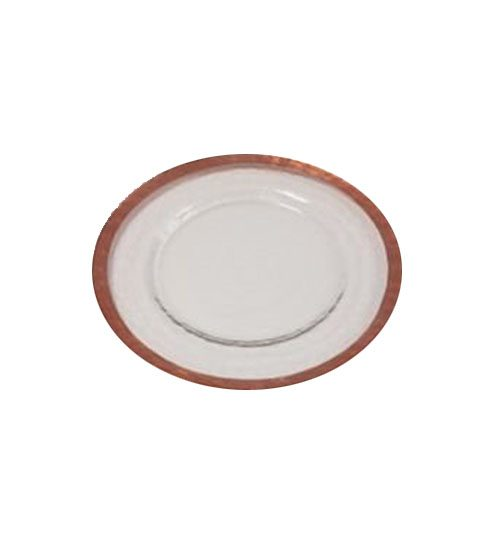 copper rimmed charger plate for events