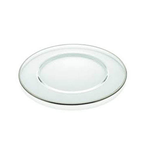 silver rimmed glass charger plate for events