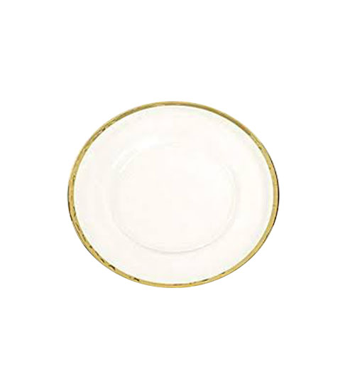 silver glass rimmed charger plate